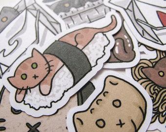 Cute Cat Stickers, Funny Food, Journaling, Sticker Flake, Stationery, Scrapbooking, Paper, Kawaii Stickers, cute kitties, Sushi, Asian