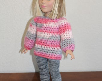 """AG pink & gray sweater, leggings, boots, hat, AG doll clothes, 18"""" doll clothes, 18"""" doll leggings, 18 inch doll sweater, AG boots"""