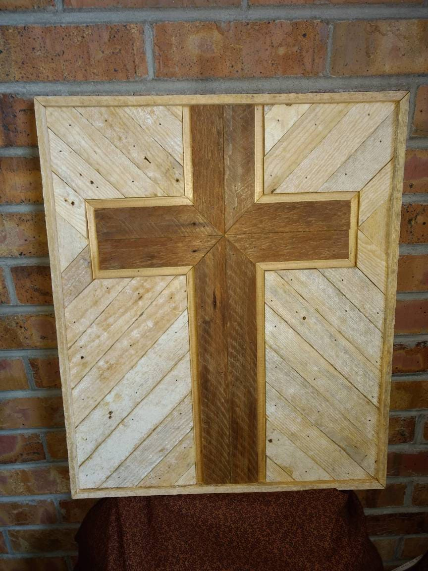 Wooden Rustic Cross Religious Wall Decor Reclaimed Wooden