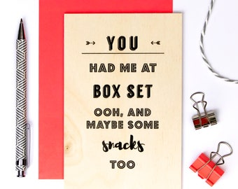 Wooden Anniversary Card; Keepsake Card; Funny Wooden Card; Wood Card; Love Card; You Have Me At Box Set; GC639