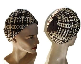 1960's Brown Hat // Vintage Bubble Hat Woven Hat // Cream Hat // Beret Style Hat