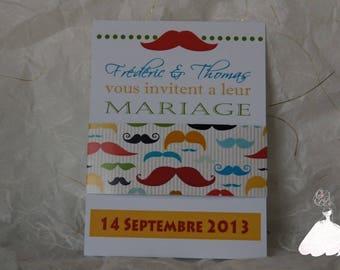 Vintage mustache invitation