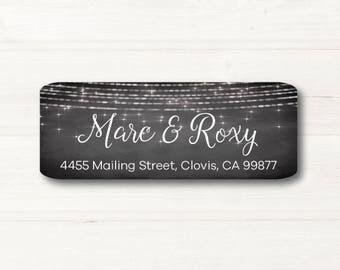 Sparkle, Lights, Return Address Label, Personalized, MATTE, Chalkboard Style