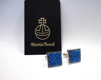 Harris Tweed cuff links blue herringbone mens gift Scottish made in Scotland accessories cufflinks fathers day or Christmas gift for him