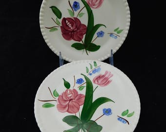 "Pair of Vintage Blue Ridge Southern Potteries Bluebell Bouquet Bread and Butter Plates - 6"" D - Flowers, Pink, Blue, Green Hand Painted"