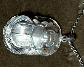 Scarab Beetle Pendant With Chain