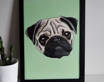 Pug A4 Art Print