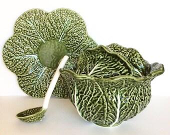 Tureen. Vintage cabbage tureen. Cabbage leaf. Majolica. Green tureen. Green cabbage tureen. Cabbage soup tureen. Green majolica leaf. Ladle.