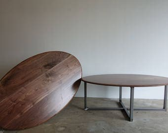 Oval Walnut and steel coffee table