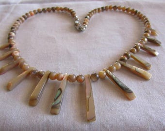 """17"""" Abalone Spike and Bead Necklace"""