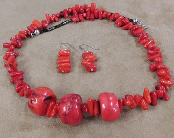 Chunky Dyed Bamboo Coral Necklace and Earrings
