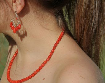 genuine certified red bodied coral necklace