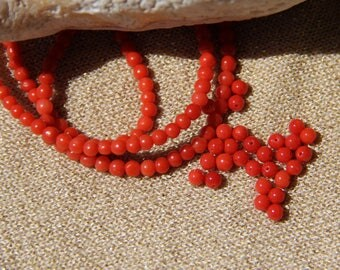 5 beads 2.2 red certifiė mmCorail genuine, sin in Corsica