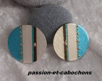 cabochon turquoise iridescent vanilla wooden resin Gold Handmade 2 piece 38 mm