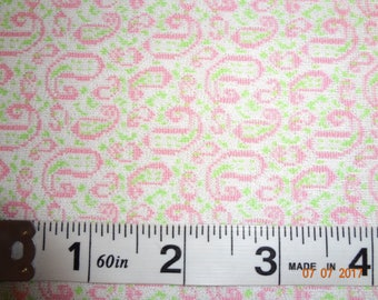 """Vintage Pink & Green Paisley Print Polyester Knit Fabric - 2 Yards - 62"""" wide"""