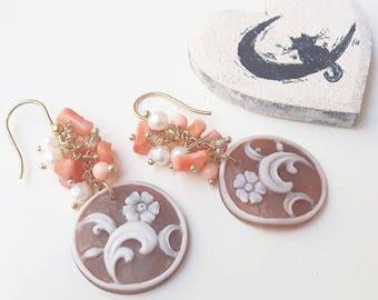 FLOWER CAMEO EARRINGS