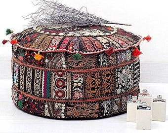 Black Indian Traditional Home Decorative Ottoman Handmade and Patchwork Foot Stool Floor Cushion Cover