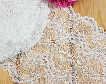 White Stretch lace by the meter