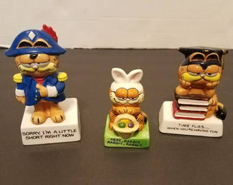 3 Vintage Garfield Enesco Figurines