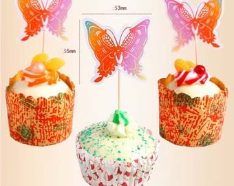 12pcs butterfly Cupcake Toppers