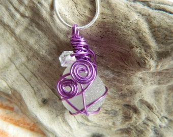 Pretty Seaham end of day Sea glass wire wrapped necklace