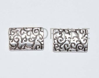 2 Rectangles tooling dark silver 15 X 22 Mm beads