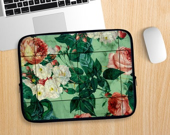 Floral and Marble Laptop Sleeve