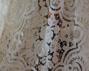 Awesome Ivory Tambour Lace Tablecloth / Bed Coverlet, Cornely Chain Stitch  Embroidery, Cut Work U0026