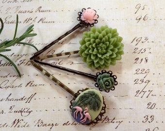 Pink Flamingo And Sage Floral Hair Clips