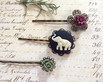 Elephant  And Cranberry And Sage Flower Hair Clips