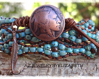 Native American Leather Wrap Bracelet/ Mens Bracelet/ Wrap Bracelet/ Seed Bead Leather Wrap Bracelet/ Leather Bracelet/ Beaded Leather Wrap.