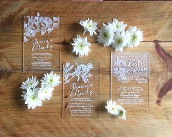 Acrylic invitations, laser engraved acrylic stationery. Sample only