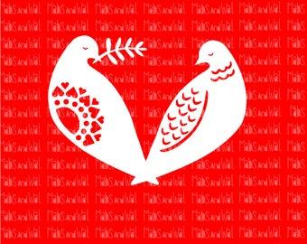 Turtle doves love birds svg/png/dxf Silhouette/Cricut digital cutting file/doves svg/love birds svg/Christmas svg/turtle dove svg/love/HTV