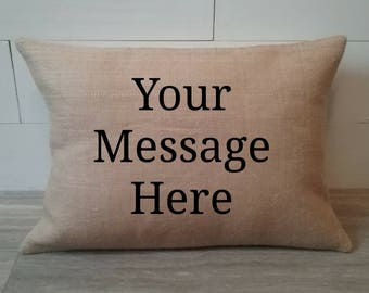 Custom Burlap Address Zip Code pillow cover with your personalized message
