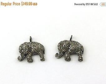 Fathers Day Sale Memorial Day Sale 1 Pc Pave Diamond Elephant Charm 925 sterling Silver Pendant - 18mmx17mm PDC228