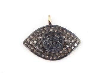 March Sale 1 Pc Pave Diamond Evil Eye Charm 925 Sterling Vermeil Pendant - 22mmx18mm PDC294