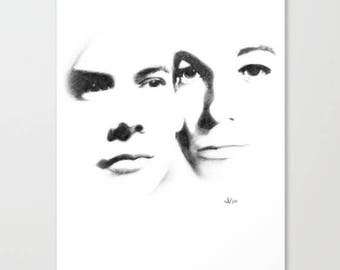 Heroes, Art Print, Graphite, Pencil, Drawing, Black and White, Minimalist, Abstract, Decor, Art, Print