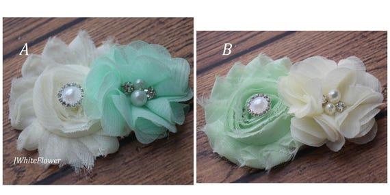 Ivory mint hair clip,Flower Baby clip, Newborn clip,  Infant Headband,Baby Headband, Headband Baby, Baby Headband, baptism  headband