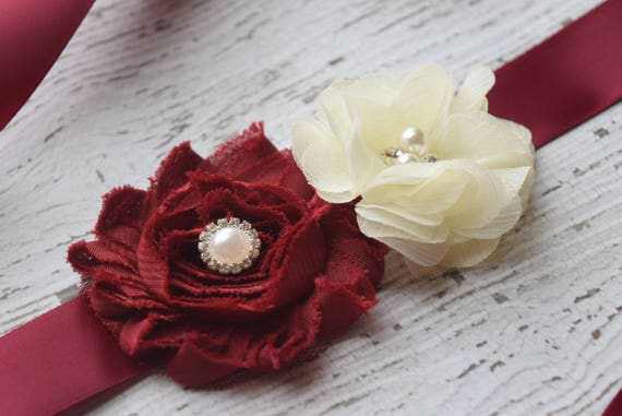 Maternity sash , Flower belt Sash, small Burgundy  ivory sash , flower girl sash, wedding sash,flower Belt, maternity sash