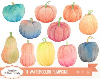 BUY 2 GET 1 FREE Watercolor Pumpkins Clip Art - fall halloween autumn thanksgiving pumpkin clipart illustration - Commercial Use Ok