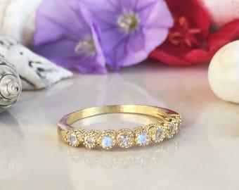 20% off-SALE! Rainbow Moonstone Ring - Genuine Gemstone - Stacking Ring - June Birthstone - Half Eternity Ring - Gold Ring - Bezel Ring