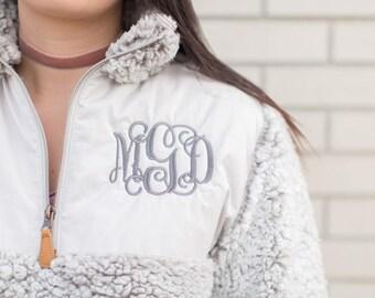 Monogrammed Sherpa, Sherpa Pullover, Monogrammed Pullover, Monogrammed Jacket, Monogram Sherpa, Sherpa Fleece, Frosted Sherpa, Gray Sherpa