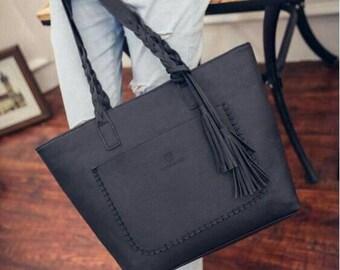 Monogram leather purse, Tassel tote, braided handle handbag, tassel leather tote, Monogram Purse, leather tote, brown leather, braided tote