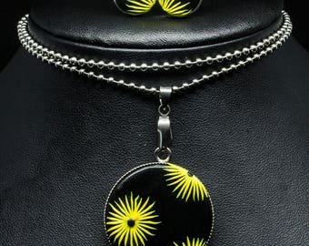 Yellow Flower Stainless Steel Pendant Stud Set