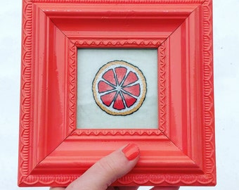 coral upcycled frame • grapefruit embroidery •