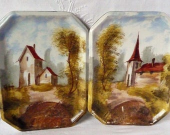 "Pair of Vintage French Hand Painted Plaques or Trays 'Village Scenes' Church and Mill  8 1/2"" x 6 1/4"""