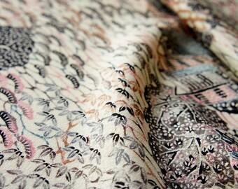 JPI - Vintage Japanese Kimono Silk Fabric **Canal City**