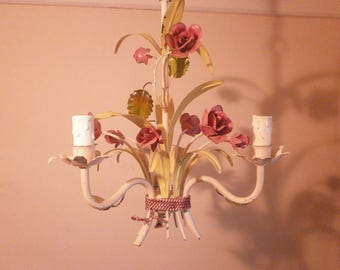 French Vintage ToleWare Chandelier, Light, Metal Flowers Chateau chic Painted