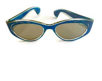 Vintage Cat Eye Sunglasses Blue Silver Dots Retro 1960s 1950s Mid Century Eyewear Frames