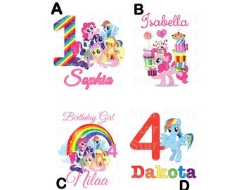 Personalized Digital Image for T shirt, Pony party, Printable Iron On Transfer, Sticker custom Birthday Shirt image